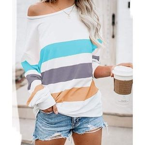 Blue striped color block long sleeve shirt